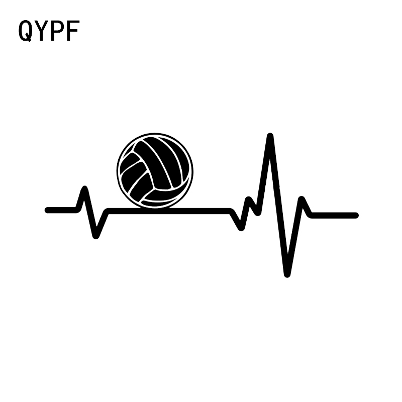 QYPF 12.4*5.7CM Electrocardiogram Volleyball Sport Decor Car Modelling Stickers Vinyl Accessories Silhouette C16-1446