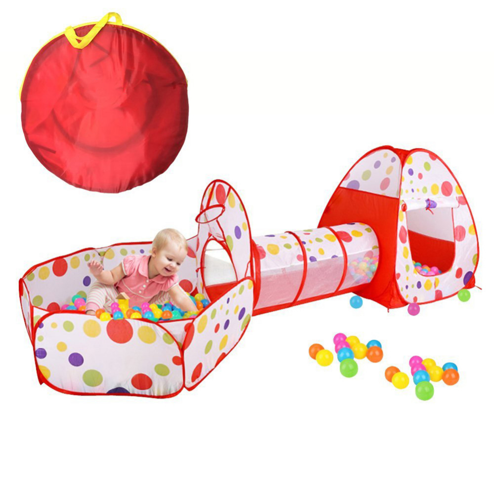 3 In 1 Children Play Tent pipeline Crawl Tunnel Ocean Ball Pool Kids Toy Tents Baby for Children Indoor Outdoor tent game House