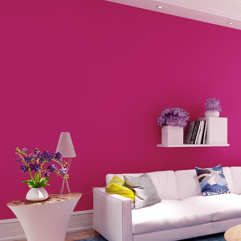Modern Bedroom Living Room Wallpaper Roll Rose Red Solid Color ...