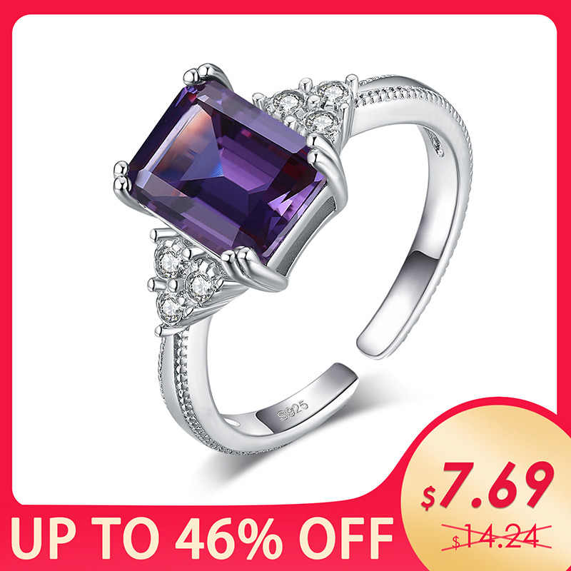 JewelryPalace 2.3ct Radiant Cut Criado Alexandrite Sapphire Anéis 925 Sterling Silver Cubic Zirconia Anéis de Noivado Cocktail