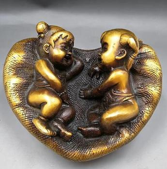 Chinese  brass golden boy and jade girl statue Happy wedding decoration Feng Shui ornaments