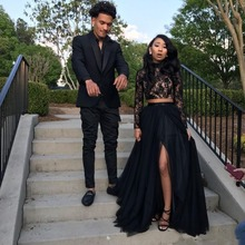 Prom Dresses 2019 Formal Evening Party Pageant Gowns African Two Pieces Long Sleeve High Neck Dubai Cheap Black Girl prom dress
