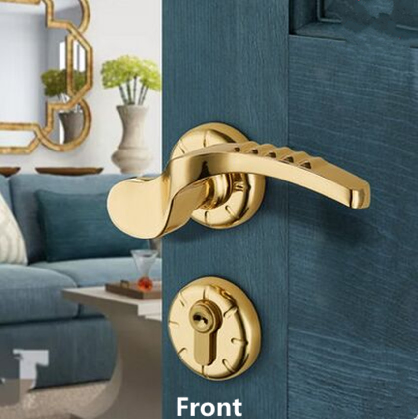 Split gold personalized fashion mute handle lock zinc alloy bedroom door lock Matte nickel interior solid wooden door locks стоимость