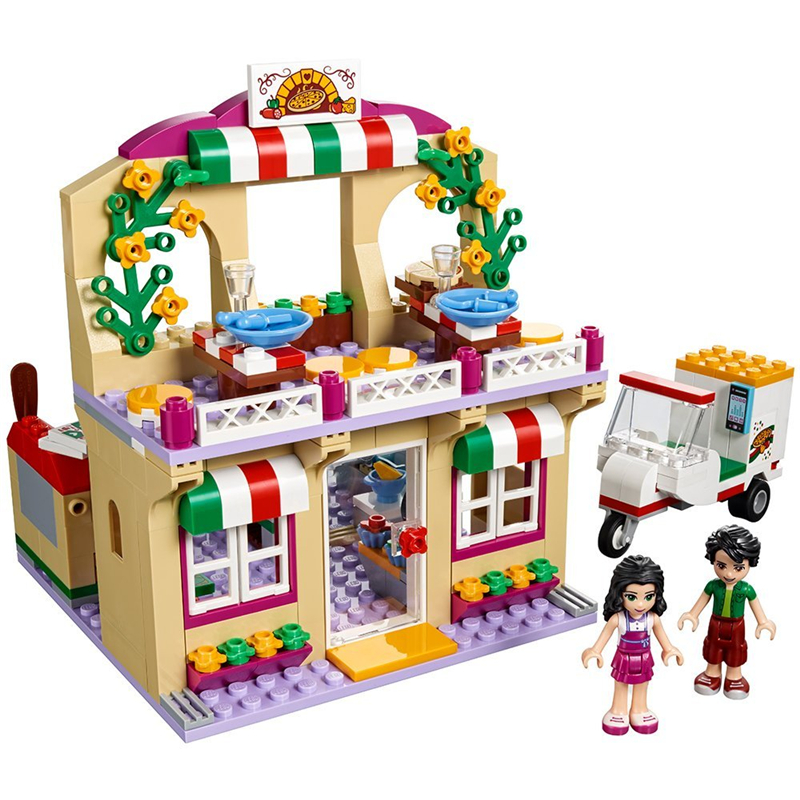 New Heartlake Friends Pizza Restaurant fit legoings friends figures city Building block bricks diy Toys girls 41311 kid gift aiboully 10166 2017 new 489pcs girls friends heartlake city school building block sets assemble bricks toys compatible 41005