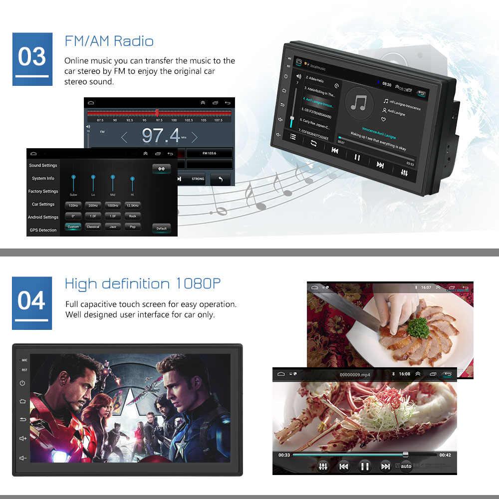 Podofo android rádio do carro jogador multimídia 2 din 7 auautela de toque autoradio bluetooth fm wifi aux 2din jogador de áudio gps estéreo