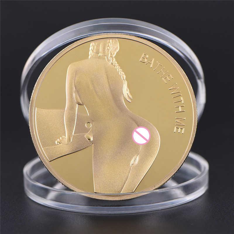 Russo sexy menina moeda adulto novidade ouro/tira cor comemorativa desafio moeda arte lembrança feng shui