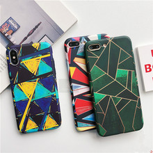 Color geometric rhombic Phone Case For iPhone7 8 6 6S hard shell Phone Case for iPhoneX XR XS abstract Phone Case