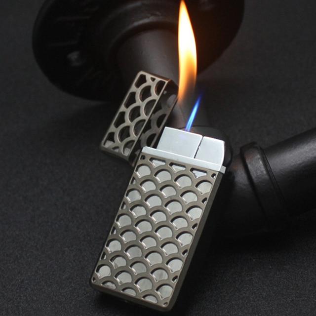 Oco livre fogo duplo jato de fogo mais leve gás 1300 c butano gadgets tocha turbo isqueiro à prova de vento tubo de charuto de metal mais leve para o homem