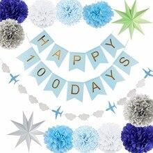 Blue Theme Kids Birthday Party Decoration Set Supplies Happy Banner Pom Poms Decor For kids Favor 14Pcs