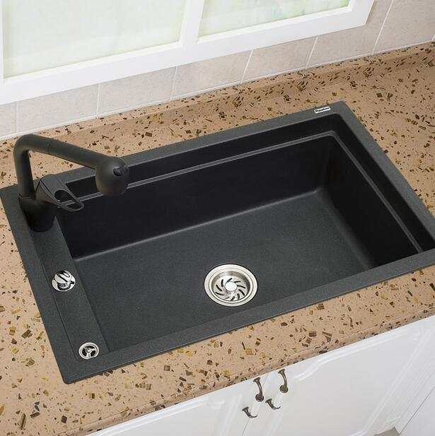 Quartz Stone Kitchen Sink Ultralarge Single Bowl Sink Granite Above Counter  Vegetables Basin Sink