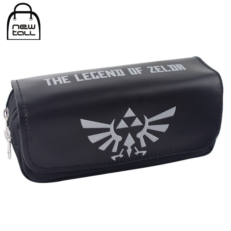 [NEWTALL] Legend of Zelda Shield Black Pencil Case Large Capacity Organizer Magic Stick Cover Double Zipper Stationery Bag T1394 черепаха плетёная zelda