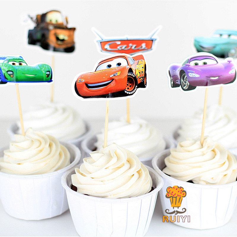 24pcs Cartoon Cars Candy Bar Cupcake Toppers Pick Baby Shower Kids