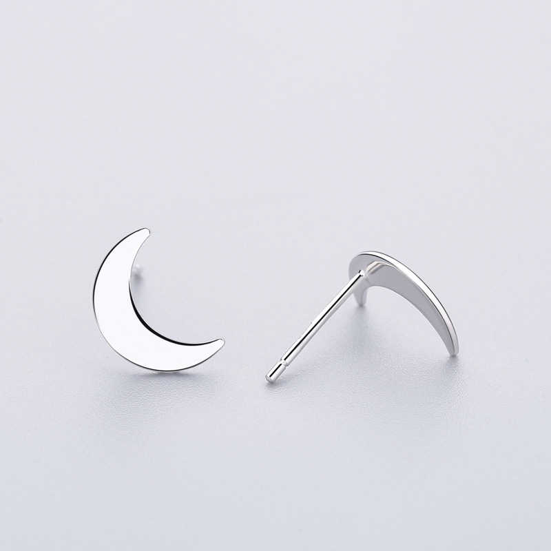 ... INZATT Punk Moon Stud Earrings Minimalist Geometric Shape 925 Sterling  Silver For Women Birthday Party Jewelry ...