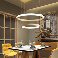 DX Nordic Led Pendant Light Luminaire For Living Room Remote Control Lamp Postmodern Simplicity Dimmable Lustre Art Ring Fixture