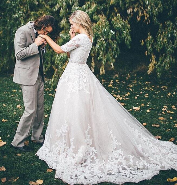 Weddings & Events Painstaking 2019 Wedding Dresses Half Sleeve Pincess Bridal Gown Garden Country Wedding Vestidos De Novia Marriage Reception Robe De Mariee We Take Customers As Our Gods