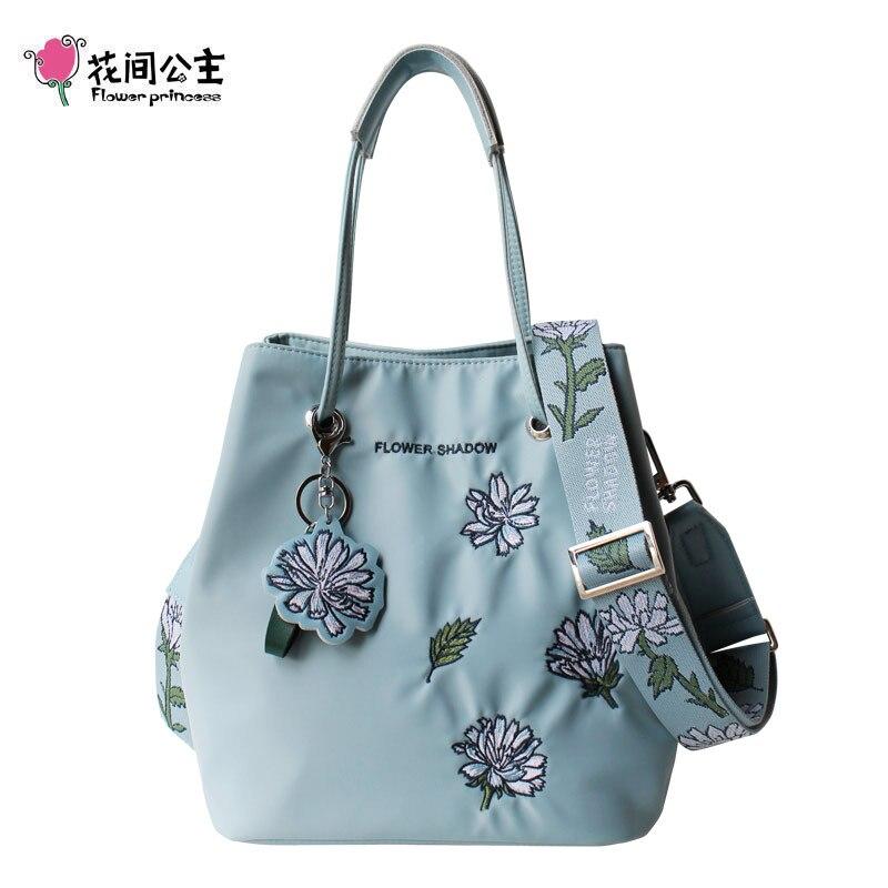 Kwiat księżniczka oryginalne hafty kwiat kobiety wiadro torba szeroki pasek torby Crossbody 2 w 1 kobiet torba na ramię z nylonu torebki w Torebki na ramię od Bagaże i torby na  Grupa 1