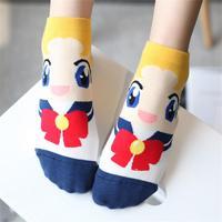 OLN KREU36 46 new arrivel spring summer fall warm cute boat socks cartoon Sailor Moon ship female lovely short (6 pairs / lot )