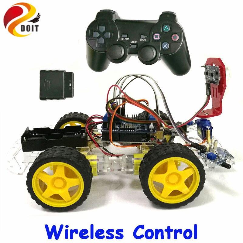 DOIT Sans Fil Contrôle de Suivi D'évitement D'obstacle 4WD Arduino Robot Châssis De Voiture Kit avec UNO R3 Conseil + Motor Drive Bouclier conseil