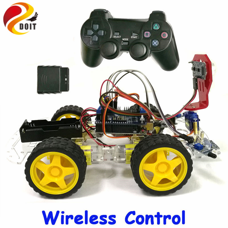 DOIT Wireless Control Tracking Obstacle Avoidance 4WD Arduino Robot Car Chassis Kit with UNO R3 Board+Motor Drive Shield Board adeept 2 wheel self balancing upright car robot kit for arduino uno r3 with pdf instruction book android app remote control
