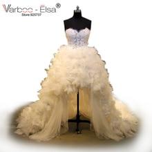 VARBOO_ELSA 2018 wysoki niski arabski suknia ślubna kaplica pociąg koralik suknia ślubna bez ramiączek biała koronkowa suknia feather vestido de novia