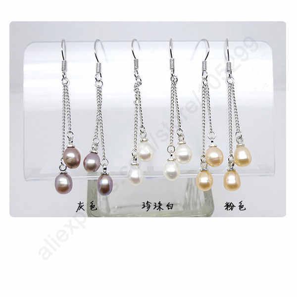 Freies Schnelles Verschiffen 3 Farben Süßwasser Perle Hochzeit Ohrringe 925 Sterling Silber Schmuck Rolo Kette Perle Ohrring