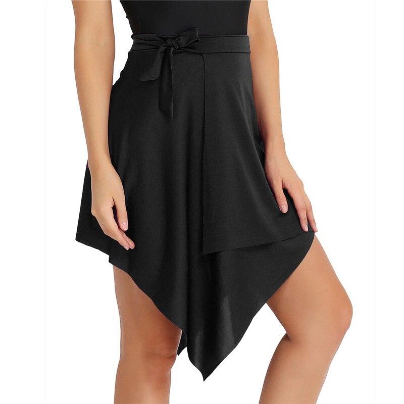 TiaoBug Fashion Women Asymmetric Stretchy Wrap Latin Dance Skirt Adult Stage Professional ChaCha Rumba Samba Tango Dance Costume