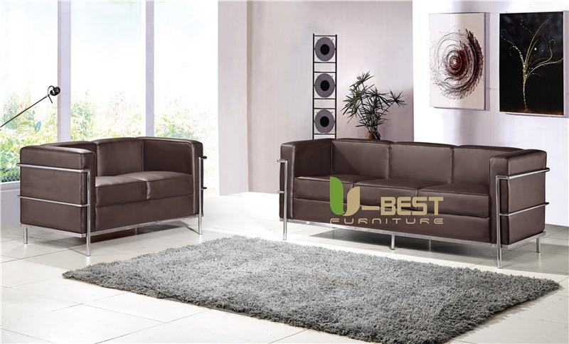 LC2 sofa brown real leather u-best sofa (1)