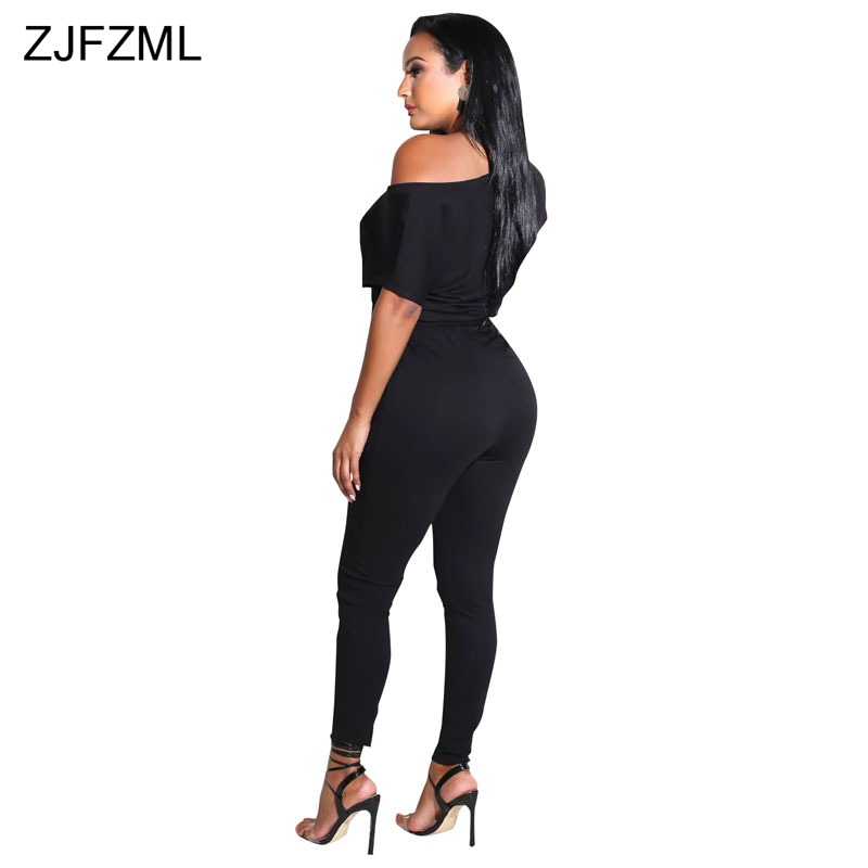 5a5891503ce21 ZJFZML One Shoulder Sexy Rompers Women Jumpsuit Summer Black Short Sleeve  Full Length Overall Casual Belted Skinny Party Catsuit-in Jumpsuits from  Women s ...