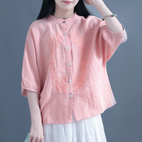Batwing Sleeve Embroidered Floral Vintage Shirt Woman Stand Collar High Quality Ethnic Spring Summer Cotton Linen Blouses Pink