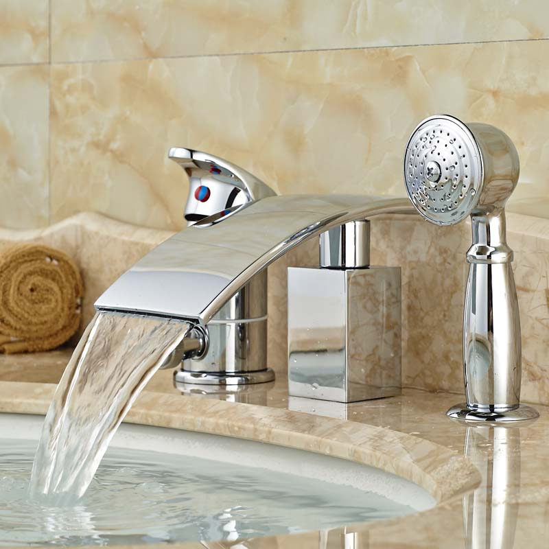 Classic Bathroom Bathtub Mixer Faucet Brass Bright Chrome Finish with Hand Shower Deck Mount finish classic порошок для пмм 2 5 кг