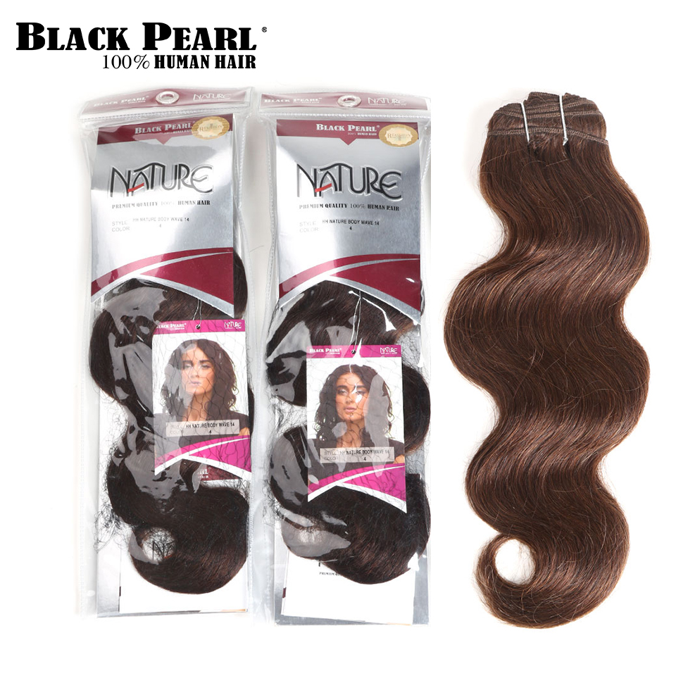 Hair Weaves Black Pearl Pre-colored Natural Wave Dark Brown Remy Human Hair 1 Bundle 4# Hair Weave Bundles 100g Hair Extensions Human Hair Weaves
