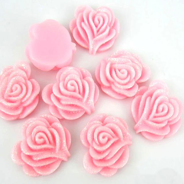 30pcs Pink Glitter Resin Rose Flower Flatback Appliques For Scrapbooking Phone Decoration Craft 19 x 21mm