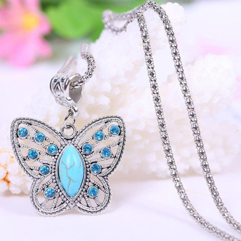 Silver Alloy Vintage Blue BUTTERFLY Chain Pendant Necklace Dream Catcher