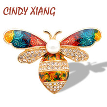 CINDY XIANG 3 Colors Available Rhinestone colorful Bee Brooches for Women Enamel Insect Honeybee Brooch Pin Handbag Hanging Gift