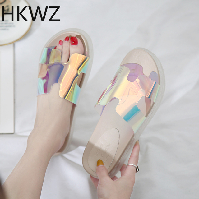 2019 summer brand new transparent ribbons one-piece outer wear slippers beach thick bottom non-slip jelly color wild sandals