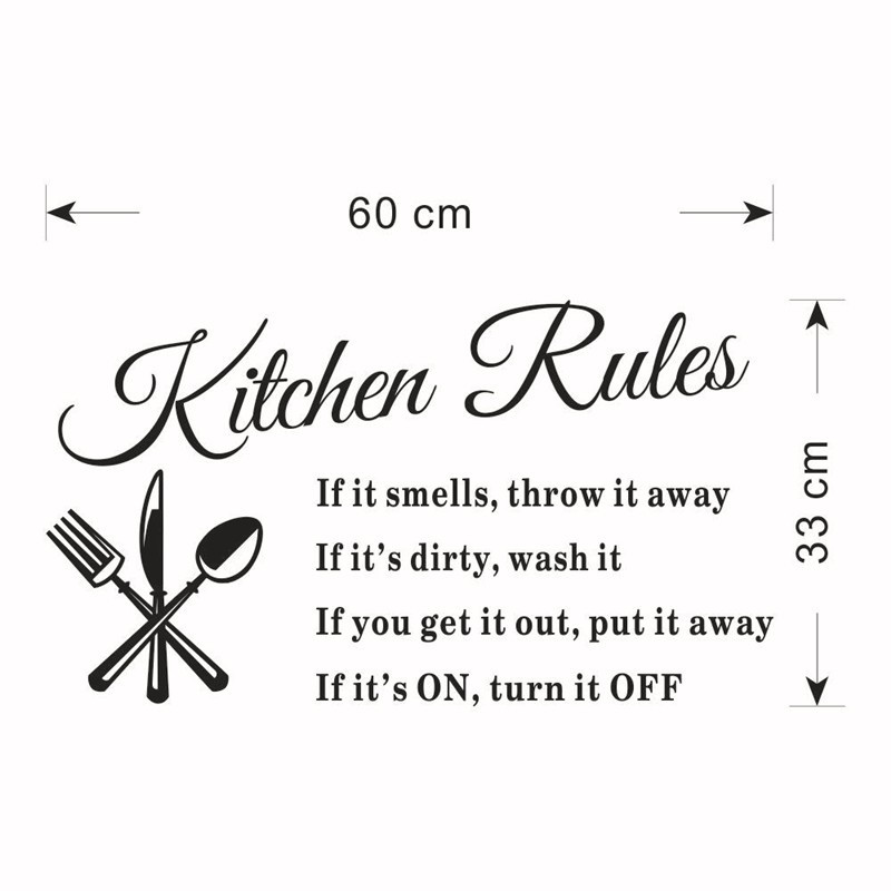 Newest DIY Kitchen Wallpaper Kitchen Rules Home Decorations For Dining Room  Vinyl Kitchen Wall Decor Art Wall Mural Y 333 In Wall Stickers From Home ...