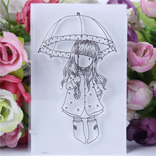 Cute Transparent Clear Silicone Stamps for DIY Scrapbooking Card Making diy photo album Decorative Umbrella girl Text Stempel