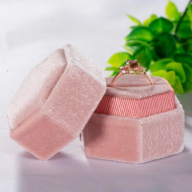 Kuololit Pink Velvet Hexagon Ring box 6