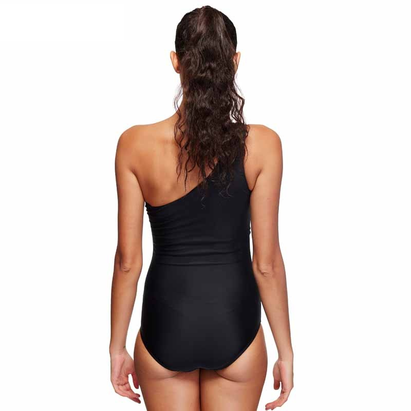 5e803fbae1b3e Plus Size One Shoulder Swimwear Female See Through Mesh One Piece Swimsuit  Wrap Waist Monokini Cut leg Swimming Suits Black XXXL-in Body Suits from  Sports ...