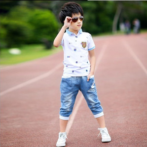 Image 2 - 2018 summer boys clothes sport suit set fashion casual short sleeve O neck childrens clothing set 2 pieces T Shirt + jeans