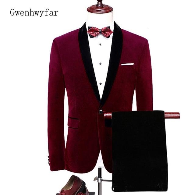 26f25c7a4 Gwenhwyfar 2018 Latest Designs Burgundy Velvet Men Suit Velour Blazer  Bridegroom Tuxedo Mens Wedding Prom Suits Jacket Pants Set