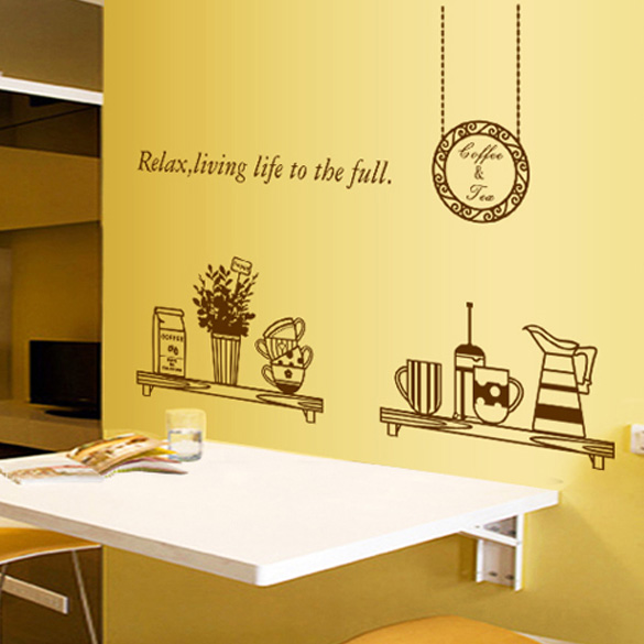 removable diy kitchen decor coffee house cup decals vinyl wall stickerchina mainland - Diy Kitchen Decor