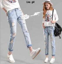 Оптовая джинсы Свободные брюки брюки ноги нищие джинсы