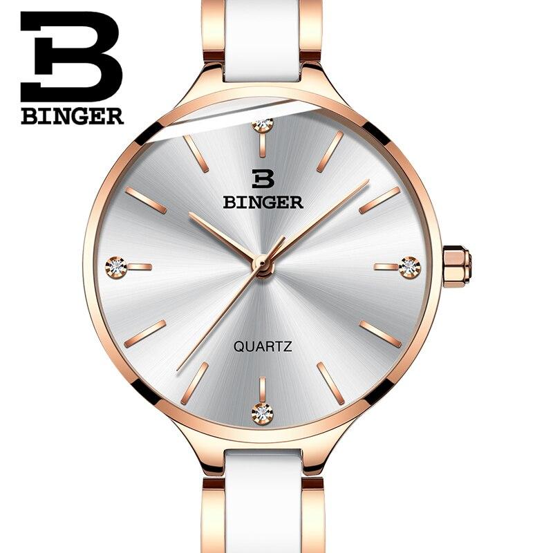 Швейцария Бингер роскошные женские часы бренд кристалл браслет моды часы женские наручные часы Relogio Feminino B 11853 - 4