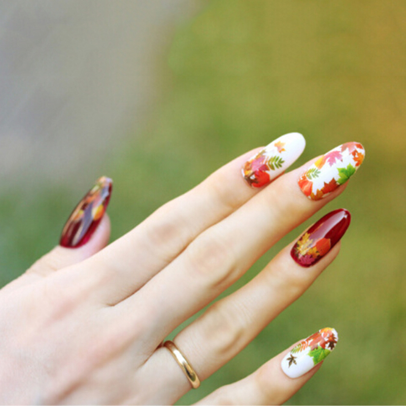 Newest Maple Leaf Water Transfer Manicure Nail Art Stickers Tip ...