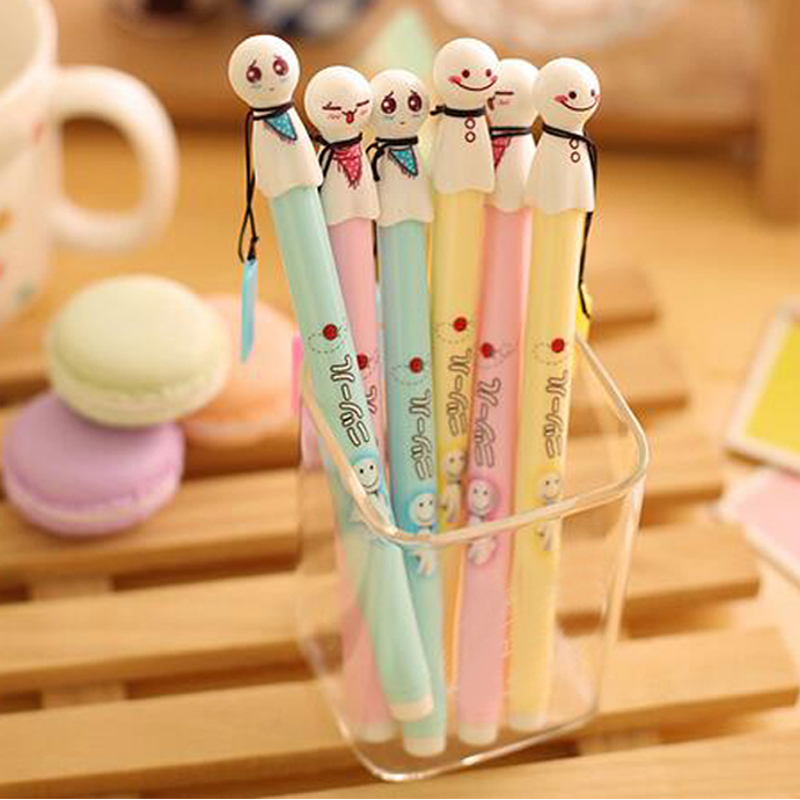 kawaii 15 pcs/Lot Cute Face Expression Gel Pen Writing Signing Pen Stationery School Office Supply Kids Student Gift Black Ink