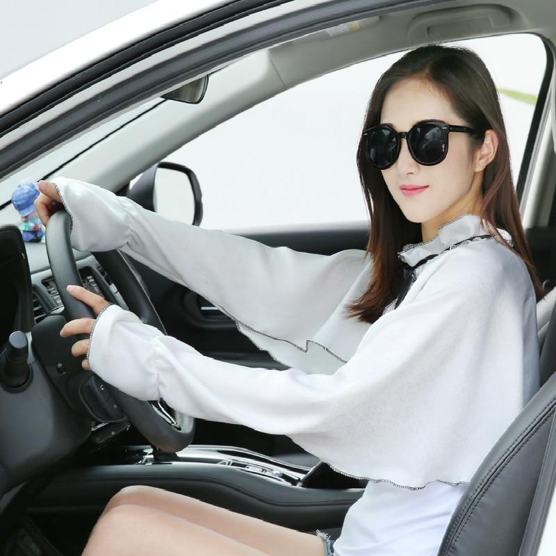 Sunscreen Long Sleeves Gloves Women Summer Sun Protection Driving Thin Anti-ultraviolet Arm Wear Female Riding Silk Sleeve H3125