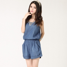 c397d7b2a62e Vintage Denim Jumpsuit Women Thin V neck Elastic Waist With Pockets Jeans  Playsuit Diamond Sleeveless Macacao