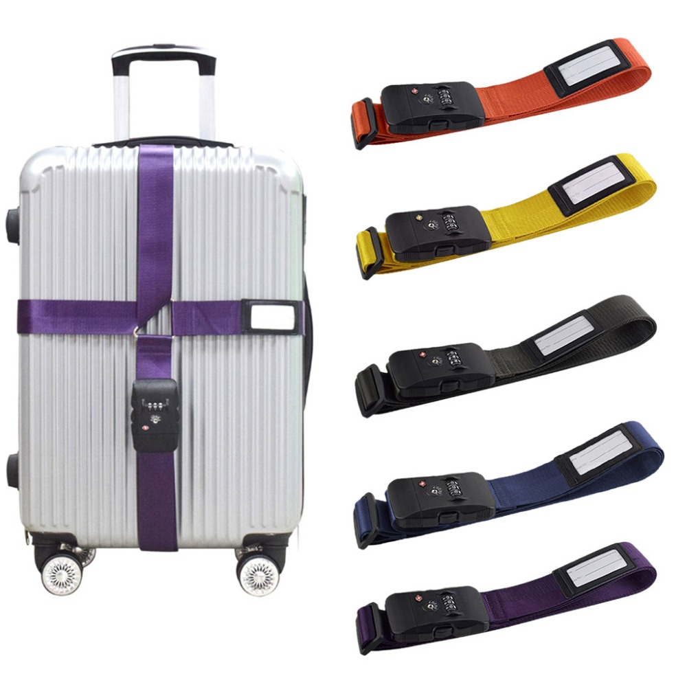 2019 High Quality Adjustable Suitcase Combination Luggage strap Travel Baggage Tie Down Belt Lock Hot Sale in Travel Accessories from Luggage Bags