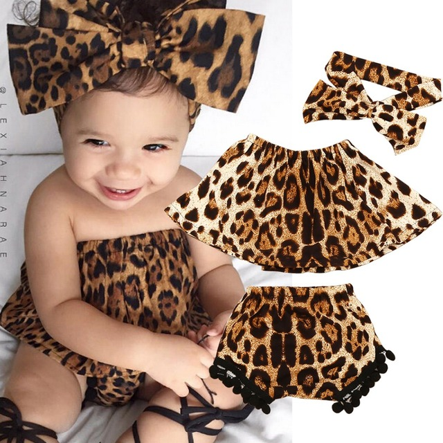 3pcs Newborn Toddler Infant Leopard Print Baby Girl Clothes Tops+Fashion  Baby Girl Shorts+HeadBand Outfits Set Baby Clothing Set 9f87a469800d